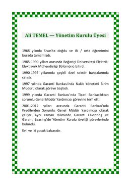 Ali TEMEL — Yönetim Kurulu Üyesi
