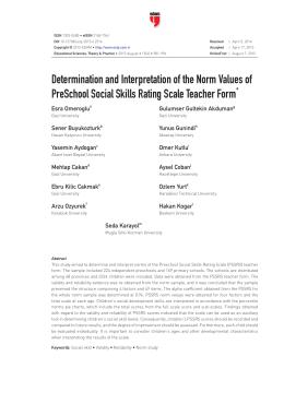 Determination and Interpretation of the Norm Values of PreSchool