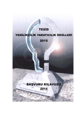 Ödül Başvuru Kılavuzu 2015 - Türk Elektronik Sanayicileri Derneği