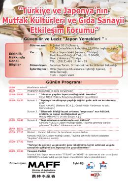 """""""Türkiye ve Japonya`nın Mutfak Kültürleri ve Gıda"""