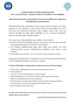 yurt dışı çıkış işlemleri - Tekirdağ İl Milli Eğitim Müdürlüğü