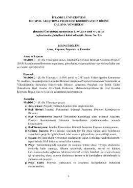 BAP Birimi Çalışma Yönergesi - İstanbul Üniversitesi | Bilimsel