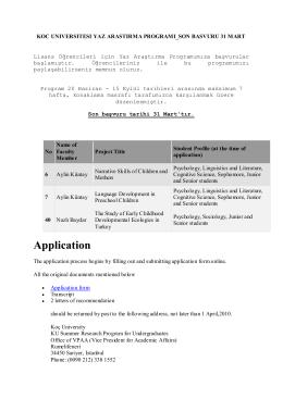 koc unıversıtesı yaz arastırma programı_son basvuru 31 mart