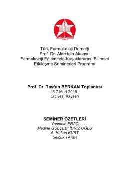 Toplantı kitapçığı - Türk Farmakoloji Derneği