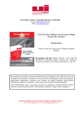 Yeni Türk Dış Politikasının Ekonomi Politiği