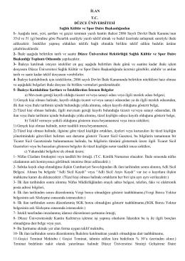 İhale Duyurusu - Düzce Üniversitesi Sağlık Kültür ve Spor Daire