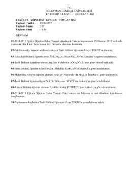 06 Ağustos 2015 Fakülte Yönetim Kurulu Kararları
