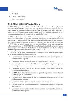 2.1.1. OHSAS 18001 İSG Yönetim Sistemi