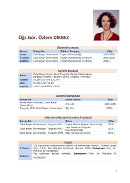 Öğr.Gör. Özlem DİKBEZ - Celal Bayar Üniversitesi