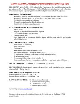 ankara kalkınma ajansı 2015 yılı teknik destek programı bilgi notu