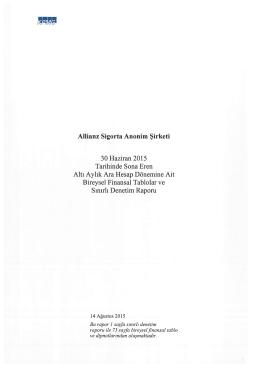 2. Çeyrek Finansal Tablolar (01 Ocak - 30 Haziran)