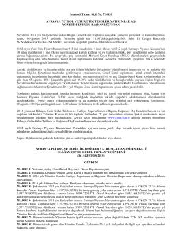 AVTUR 2014 Yılı Genel Kurul İlan Metni