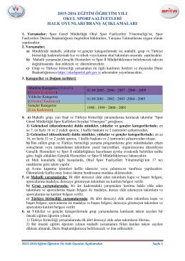 2015-2016 HALK OYUNLARI BRANŞ AÇIKLAMALARI