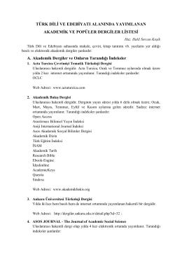 Türk Dili ve Edebiyatı Alanında Yayımlanan