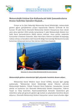 Meteorolojik Gözlem İçin Kullanılacak Sabit Şamandıraların Denize