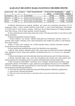 karaman belediye başkanlığından bildirilmiştir