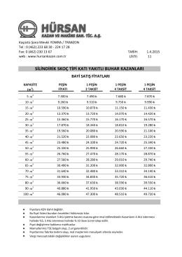 Katı Yakıtlı Silindirik Skoç Tipi Buhar Kazanları Fiyat Listesi