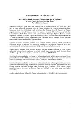 2014 Yılı I. Olağan Genel Kurul - Ayrılma Hakkı