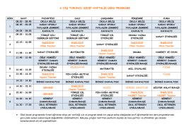 turuncu sınıf haftalık ders programı