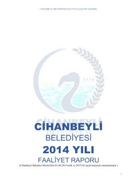 2014 Faaliyet Raporu - Cihanbeyli Belediyesi
