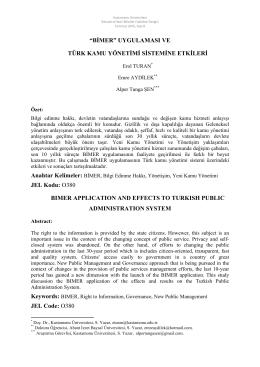 BİMER Uygulaması ve Türk Kamu Yönetimi Sistemine Etkileri