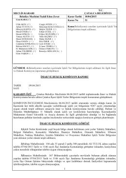 (31) içkili yer bölgelerinin tespiti (imar ve hukuk kom.rap.)