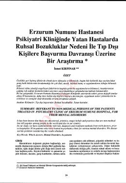 Erzurum Numune Hastanesi Psikiyatri Kliniğinde Yatan Hastalarda