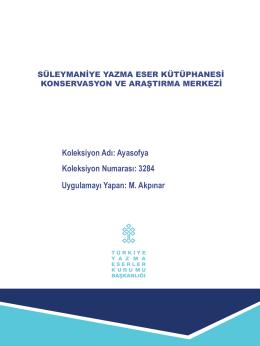 Ayasofya 3284 - Süleymaniye Yazma Eser Kütüphanesi