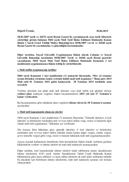 2013 yılı mali tatil uygulaması ile ilgili açıklama