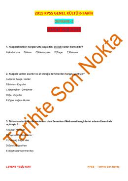 KPSS – Tarihte Son Nokta DENEME-2(Levent