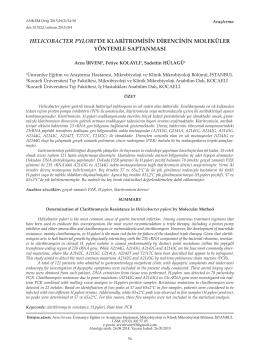 helıcobacter pylorı`de klaritromisin direncinin moleküler yöntemle