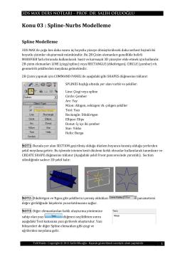 Konu 03 : Spline-Nurbs Modelleme