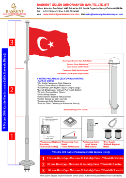 Pdf Formatında 9 Metre Paslanmaz Çelik Bayrak Direği teknik