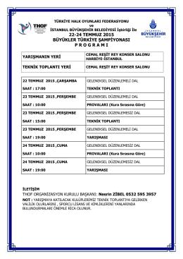 yarışma programı ve yarışmaya katılacak kulüplerin listesi