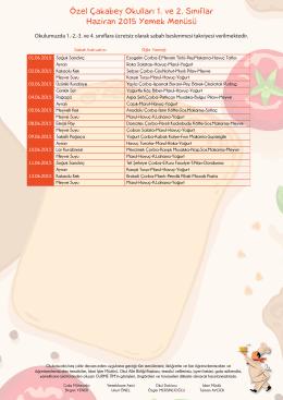 Özel Çakabey Okulları 1. ve 2. Sınıflar Haziran 2015 Yemek Menüsü