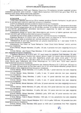 belediye meclisimizin 05.01.2016 tarili 3. dönem 1. olağan gündem
