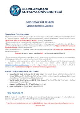 2015-2016 kayıt rehberi - Uluslararası Antalya Üniversitesi