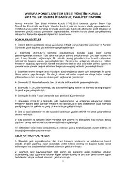 (31.05.2015 itibariyle) faaliyet raporu - Avrupa Konutları-TEM