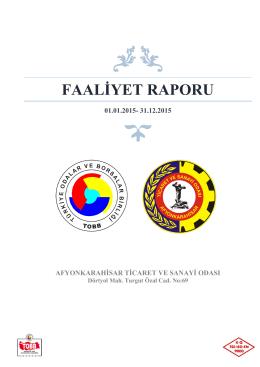 FAALİYET RAPORU - Afyonkarahisar Ticaret ve Sanayi Odası