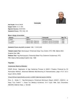 Yrd. Doç. Dr. Ahmet ONUR - Makine Mühendisliği
