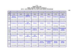 4/B Sınıfı Ders Programı - Özel Tevfik Fikret Okulları