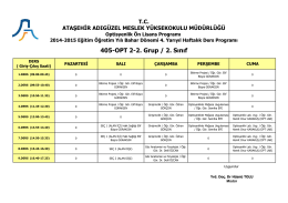 Optisyenlik 2. Sınıf 2. Grup (Bahar Dönemi