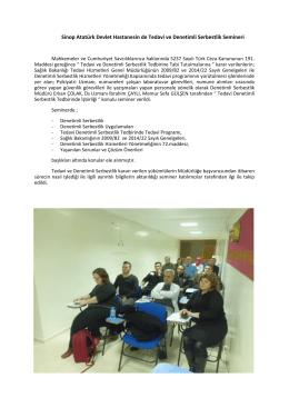 Sinop Atatürk Devlet Hastanesin de Tedavi ve Denetimli Serbestlik