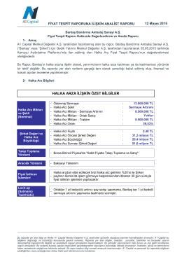 Bantaş - A1 Capital Yatırım Menkul Değerler