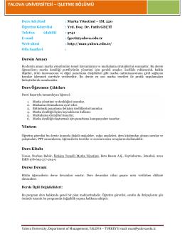 Marka Yönetimi - Yalova Üniversitesi | İİBF