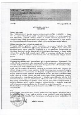 MMC-nin konsilidə edilmiş balans hesabatı və auditor rəyi 2014 il