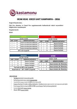OCAK KEAS KREDİ KART KAMPANYA – 2016