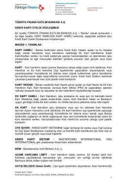 Kredi Kartı Üyelik Sözleşmesi