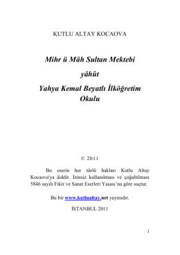 Yahya Kemal Beyatlı Ortaokulu Araştırma
