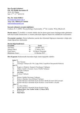 PSL 303 01 Kişilik Kuramları-II